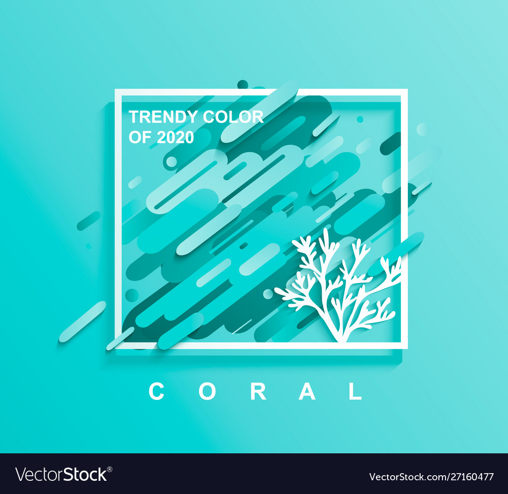 Square frame for text with coral in trendy colors