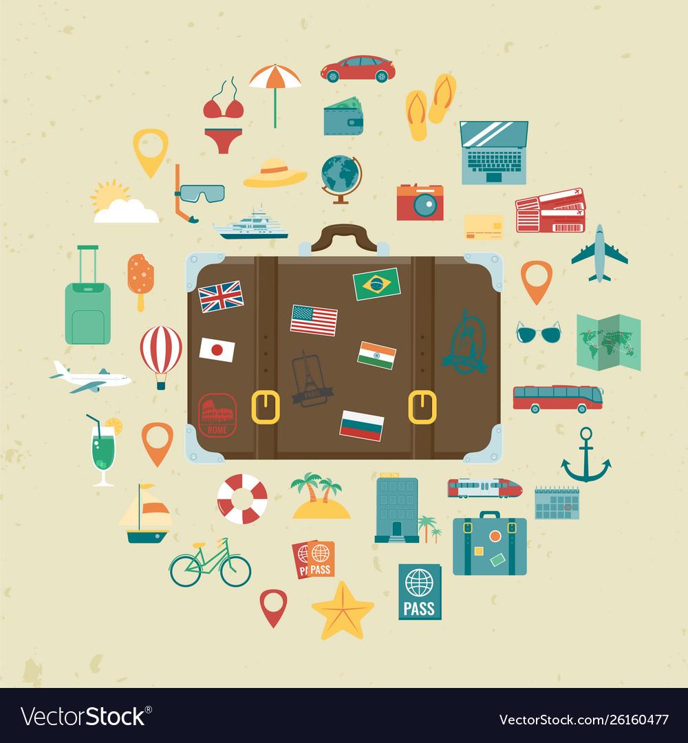 Vacation icons set summer holidays travel and