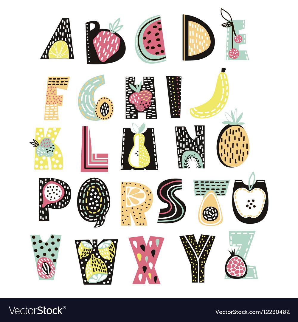 Abstract alphabet fruit creative kids font great