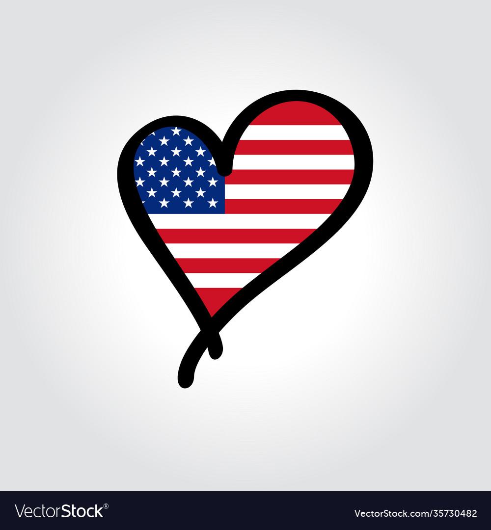 American flag heart-shaped hand drawn logo