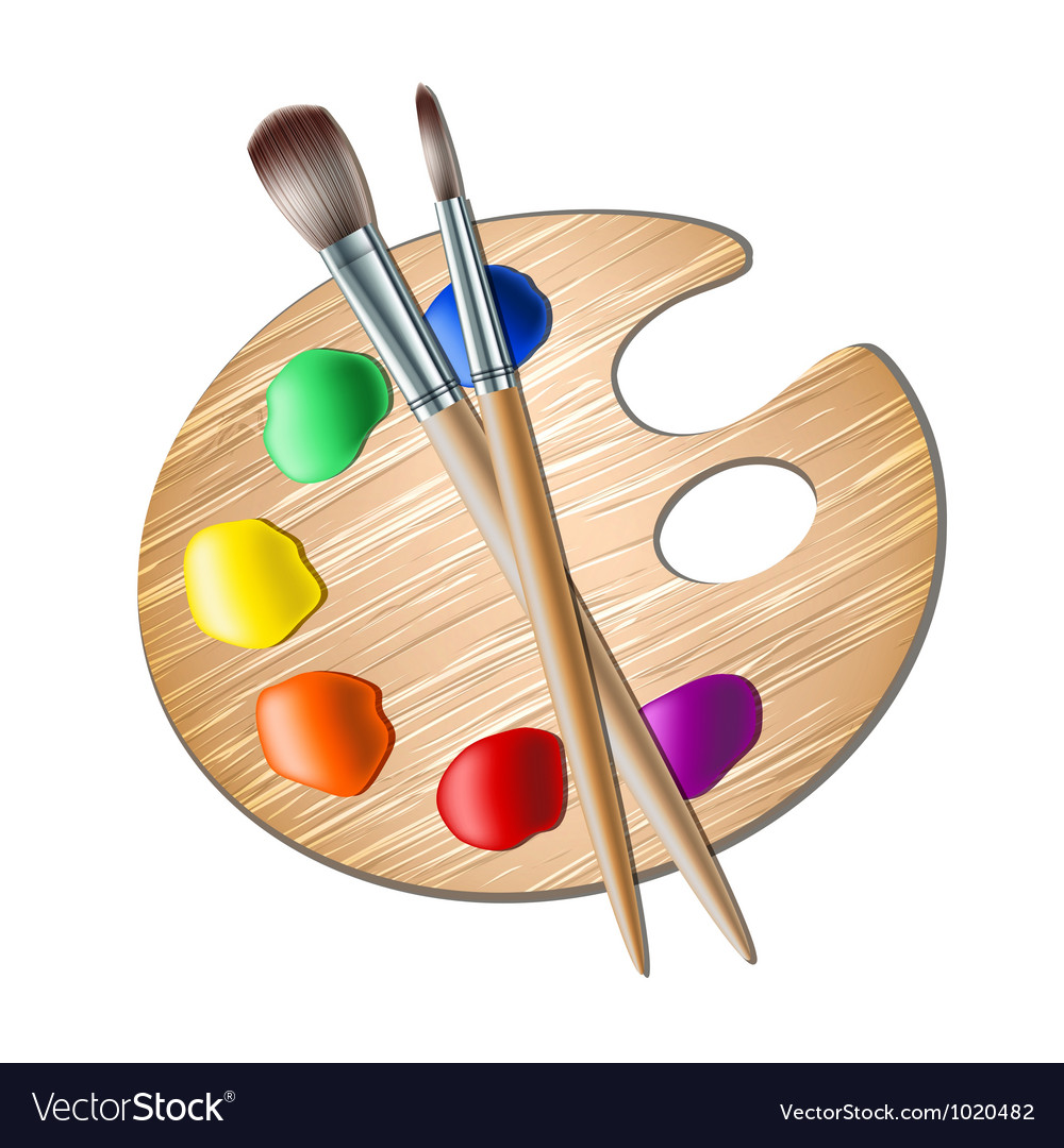 Art palette with paint brush for drawing vector image - Palette dessin ...