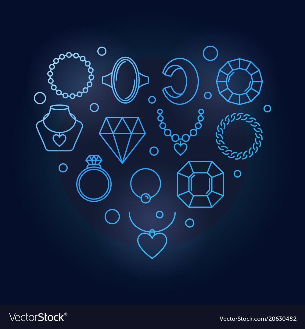 Blue creative heart shape made of jewelry