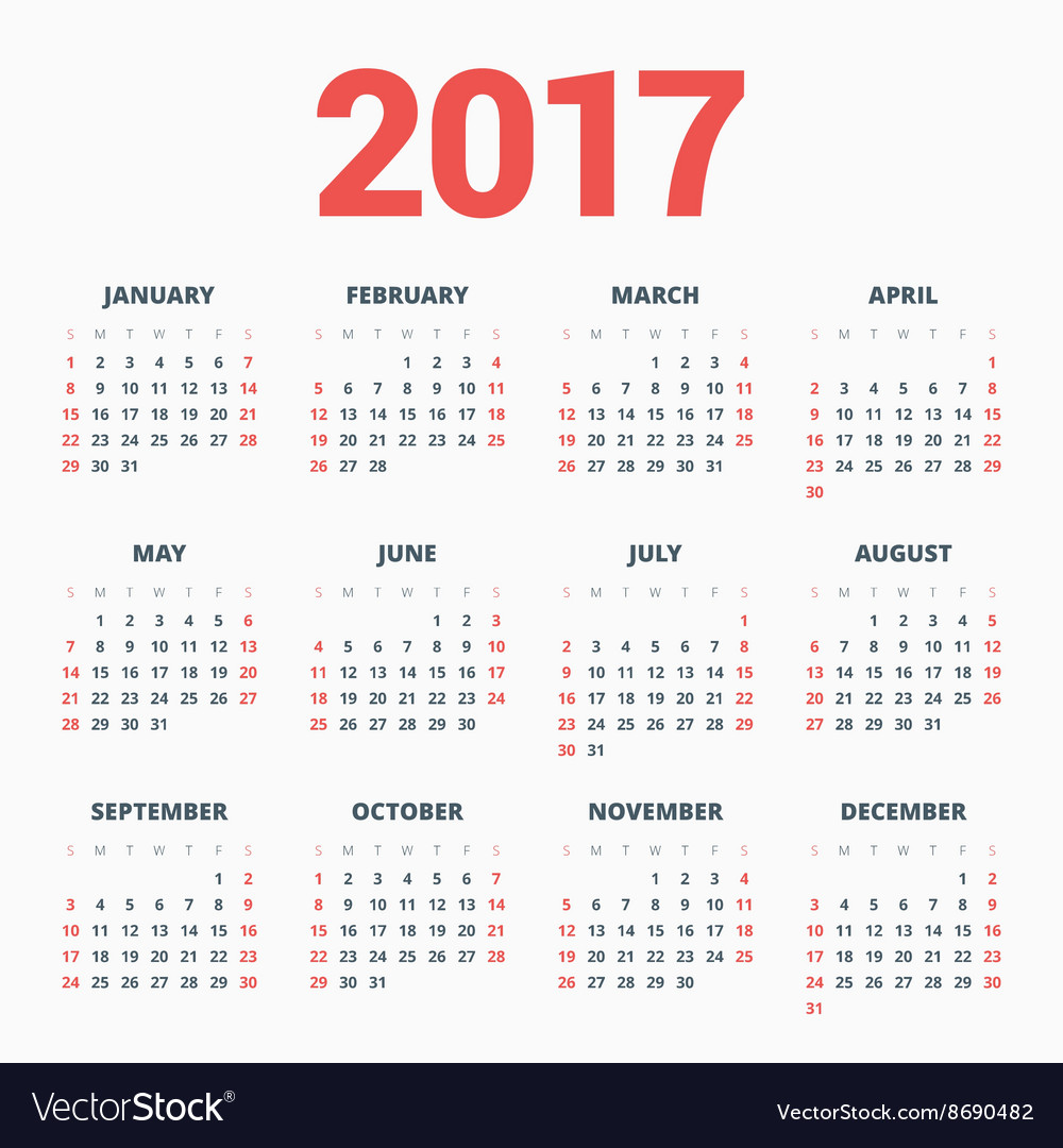 Calendar for 2017 Year on White Background Week