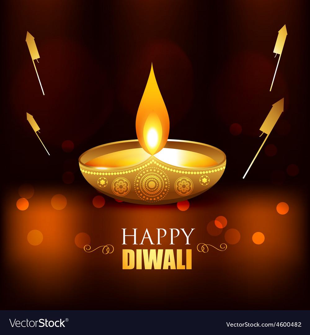 Golden diwali diya vector image