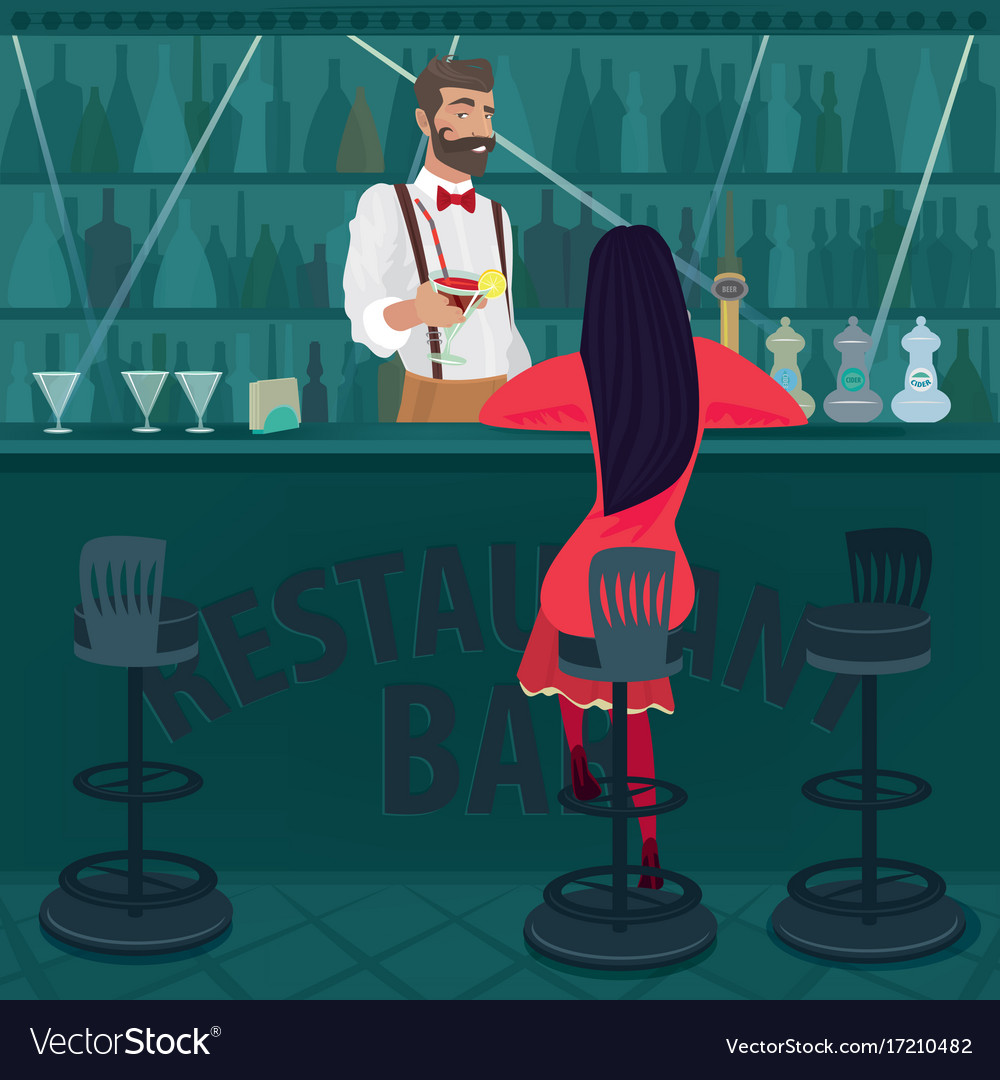 lonely girl in red sits in an empty bar royalty free vector