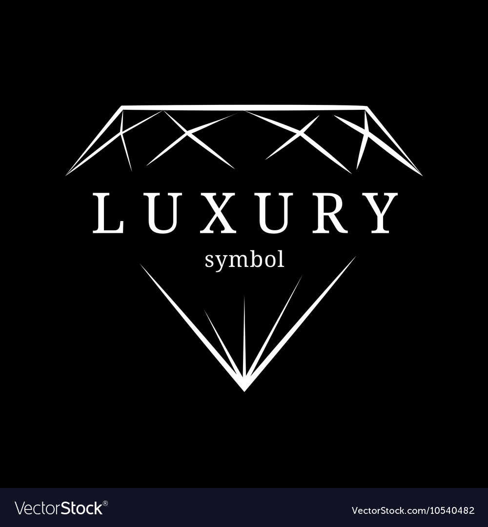 Luxury diamond gem contour symbol vector image