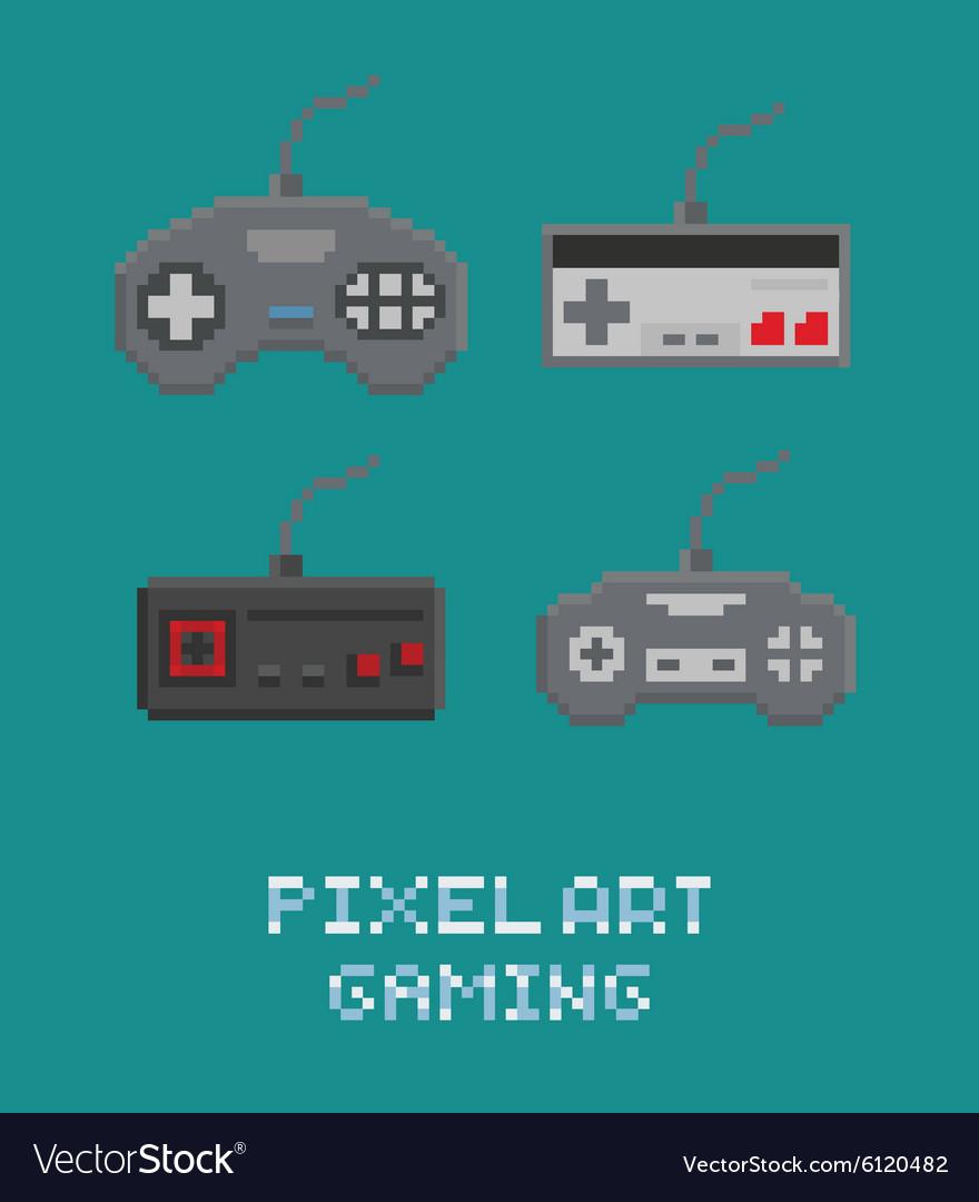 Pixel art - retro gamepads set vector image