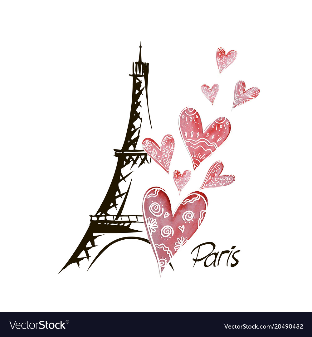 Romantic background heart and eiffel tower