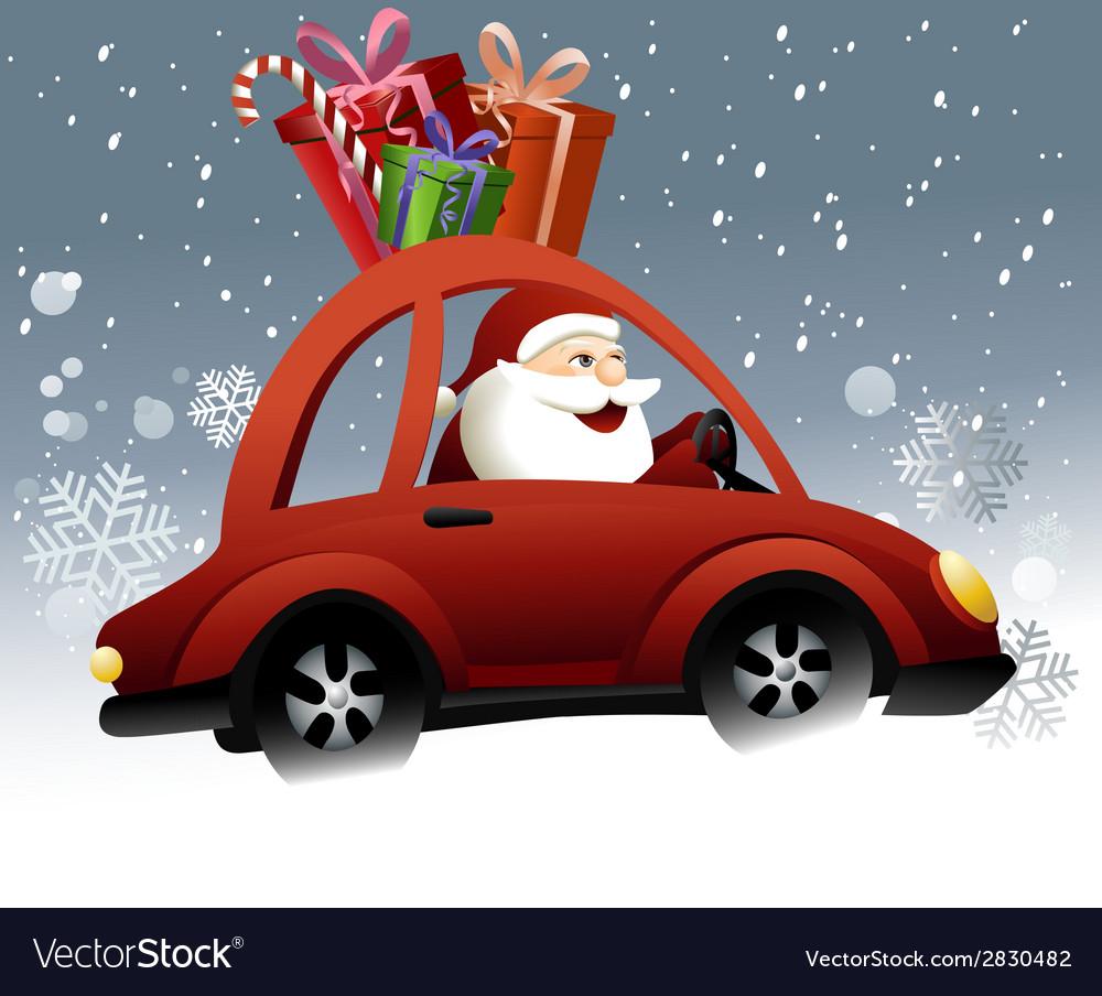 Santa Claus driving a car vector image