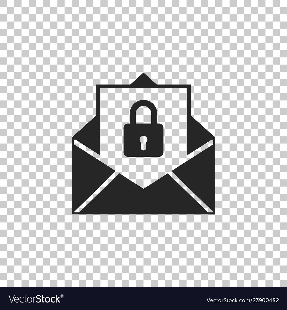 Secure mail icon on transparent background