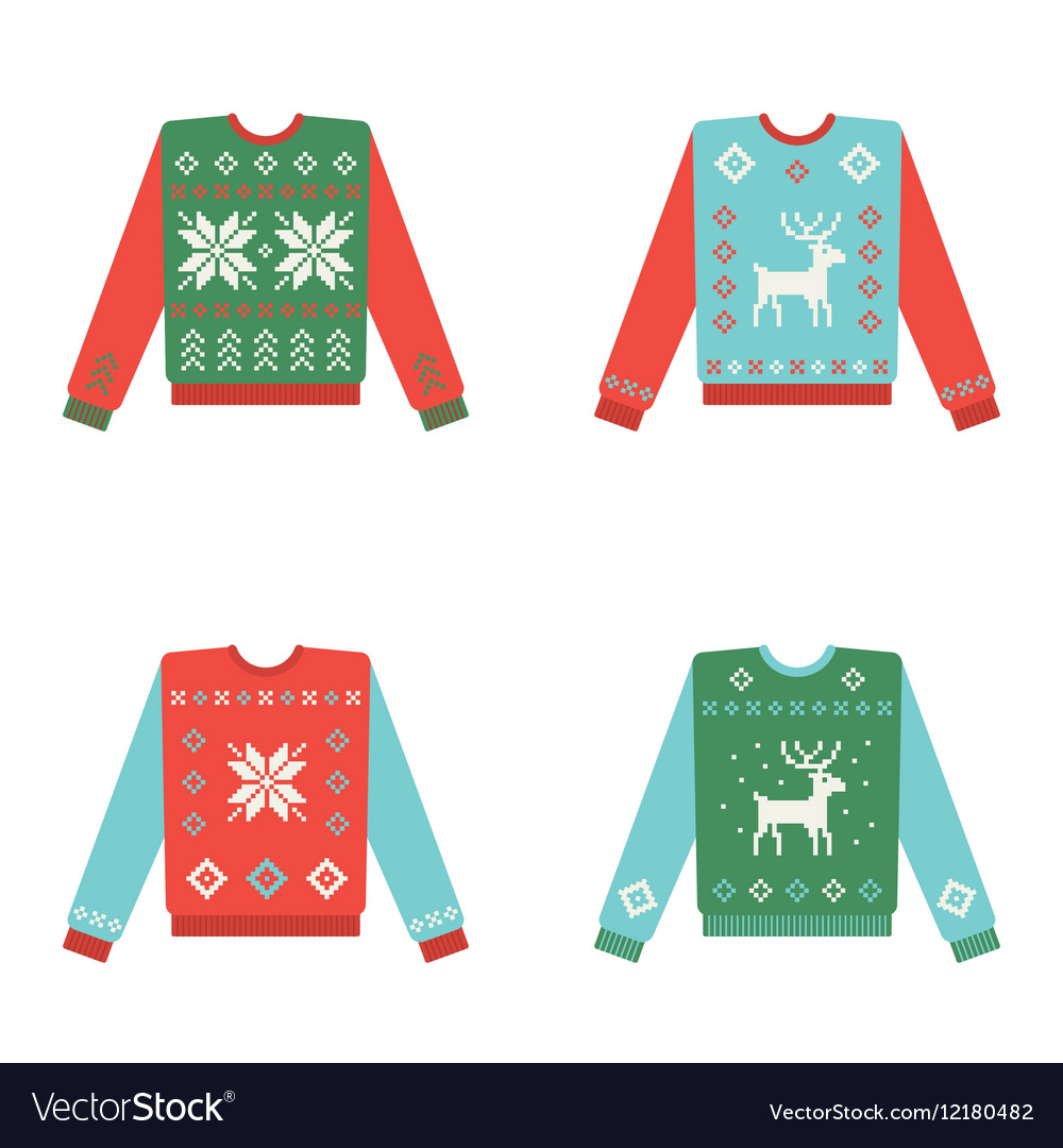 f36e98b4c902 Set of ugly christmas sweaters with winter pattern vector image