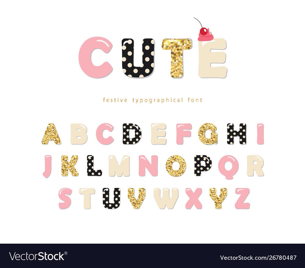 Cute girly font pastel pink polka dot and