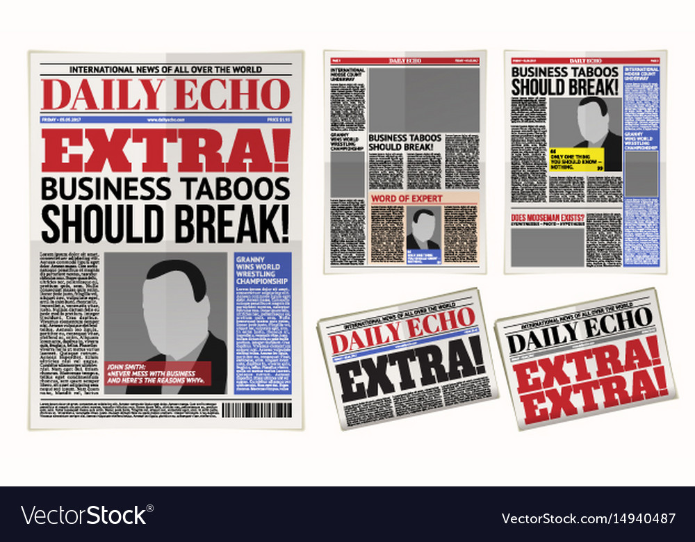 Daily Newspaper Template Tabloid Layout Royalty Free Vector