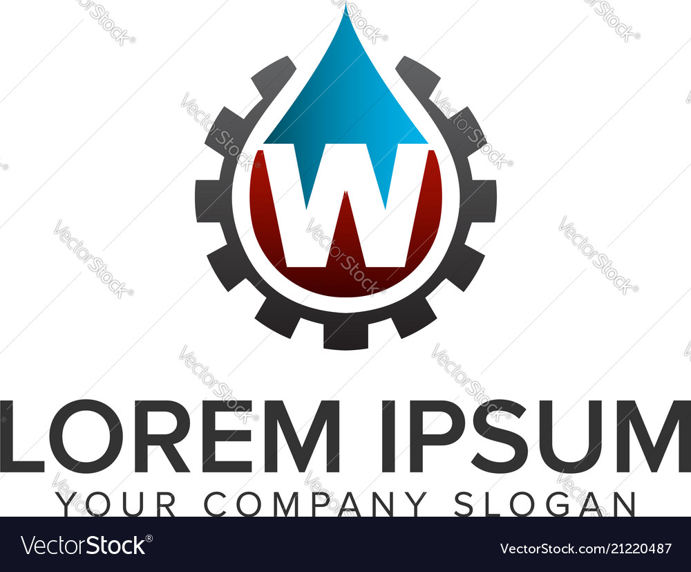 Drop water with gear logo oil gas logo