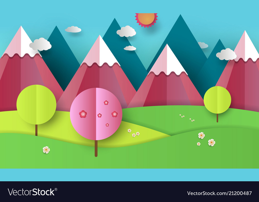 Flat design nature landscape with