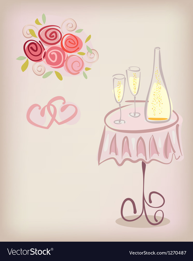 Love gift card with champagne