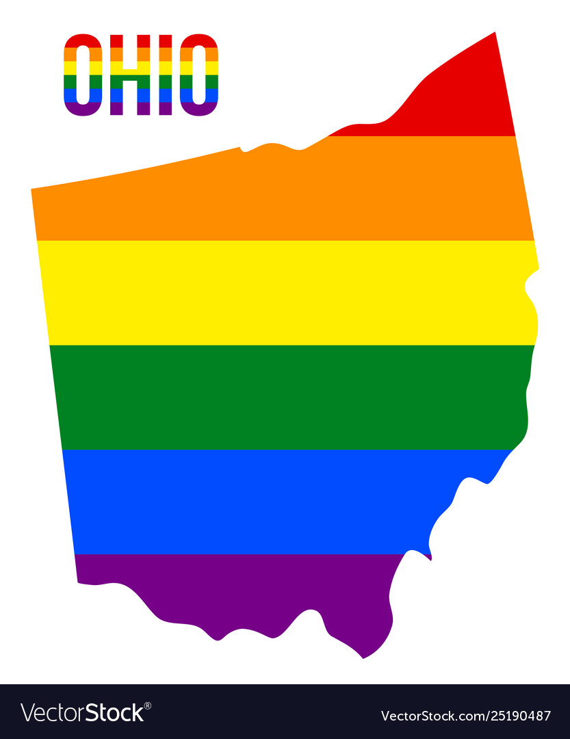 Ohio state map in lgbt rainbow flag comprised six
