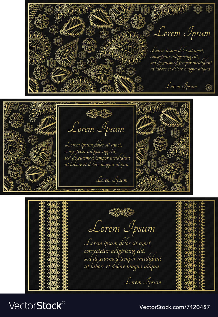 Set of black invitation cards with golden paisley