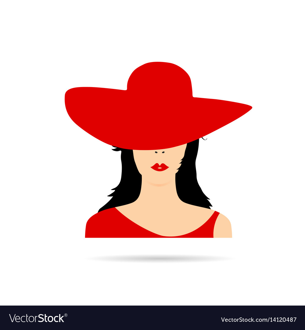 5d3c7d9d80966 Woman head with red hat fashion Royalty Free Vector Image