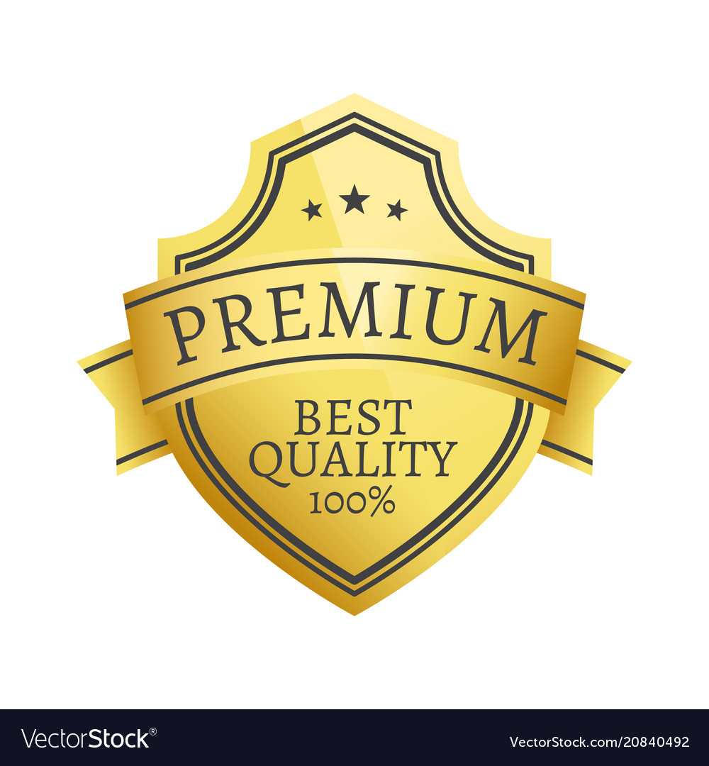 100 premium quality choice golden label isolated vector image