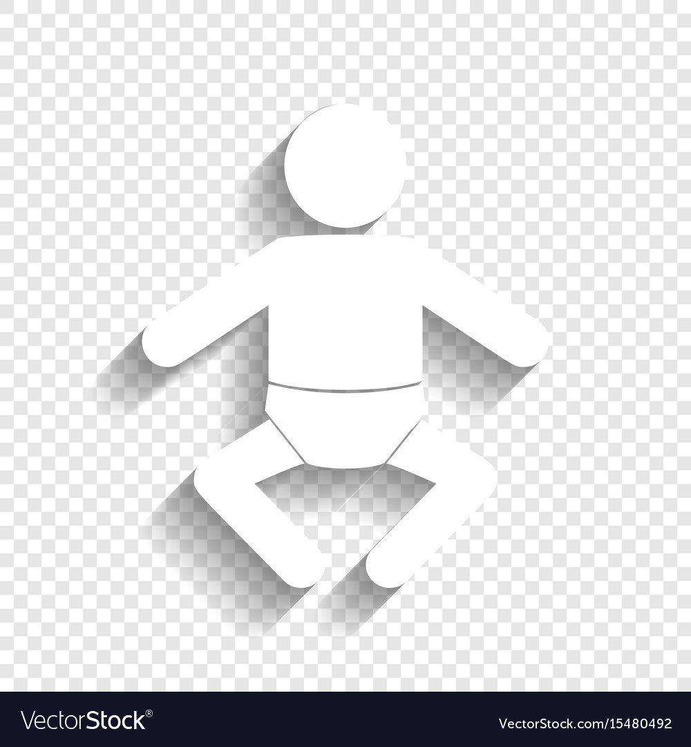Baby sign white icon with