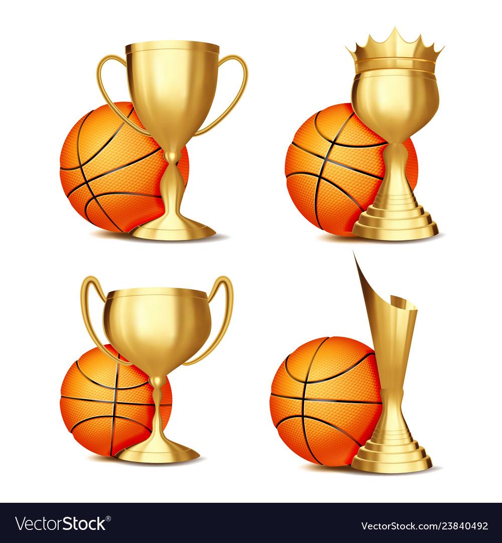 Basketball game award set basketball ball