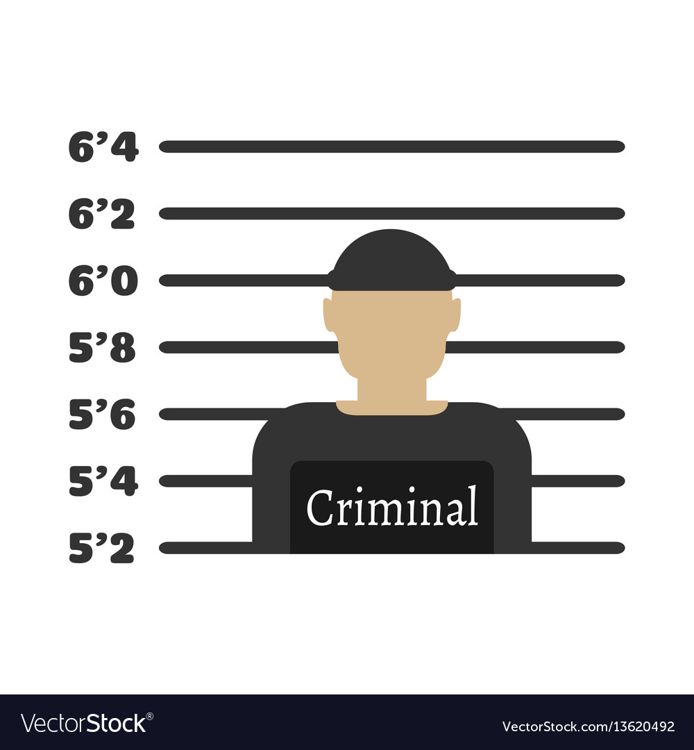 Criminal man elements of the police equipment vector image