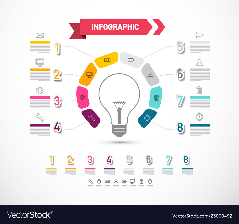 Data flow diagram with bulb and icons infographic