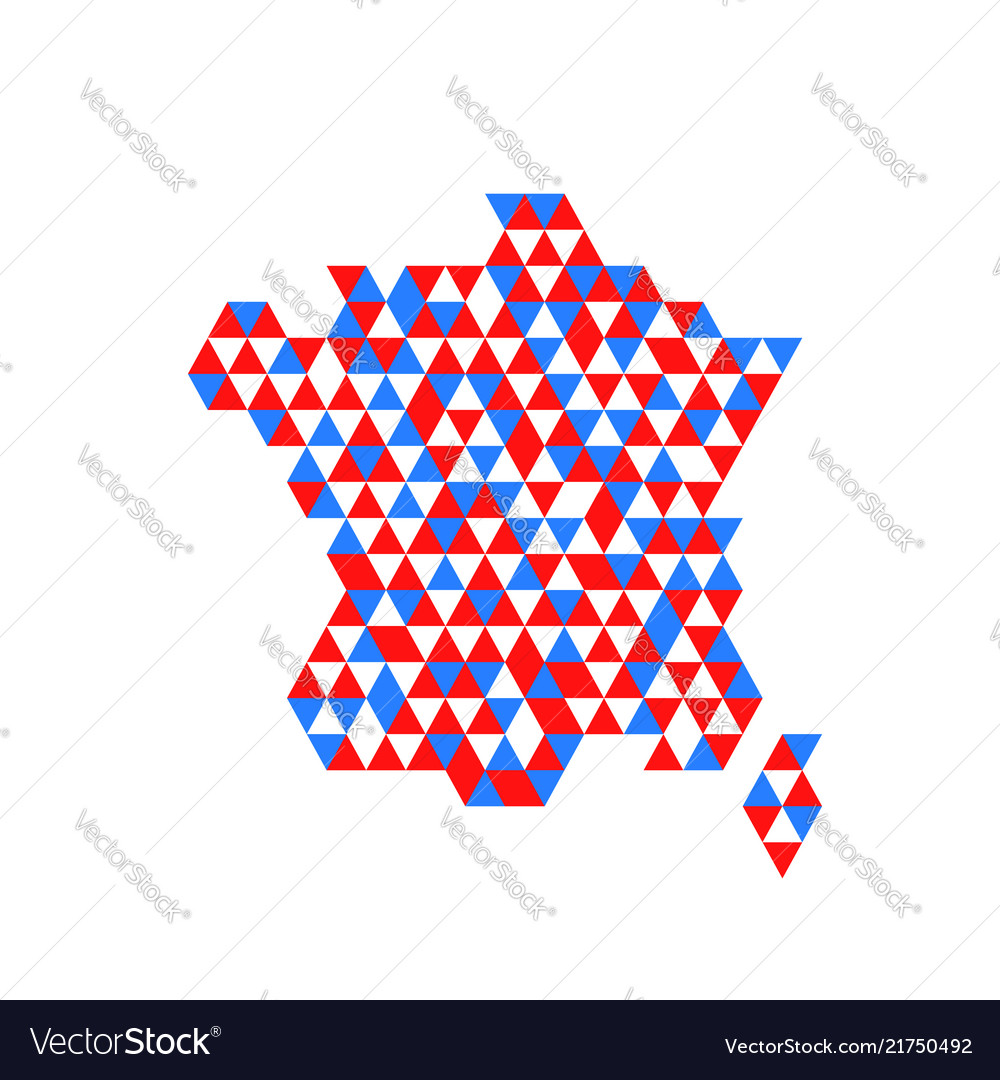 Geometric france map with flag colors