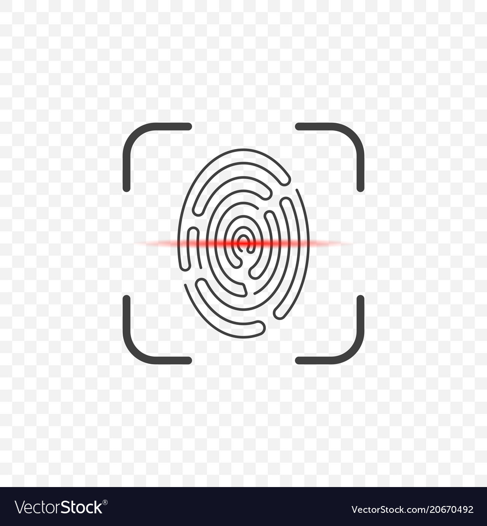 Icon of a fingerprint scanner on a transparent