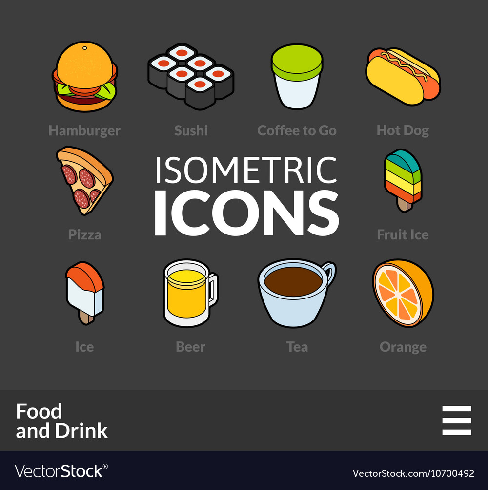 Isometric outline icons set 55