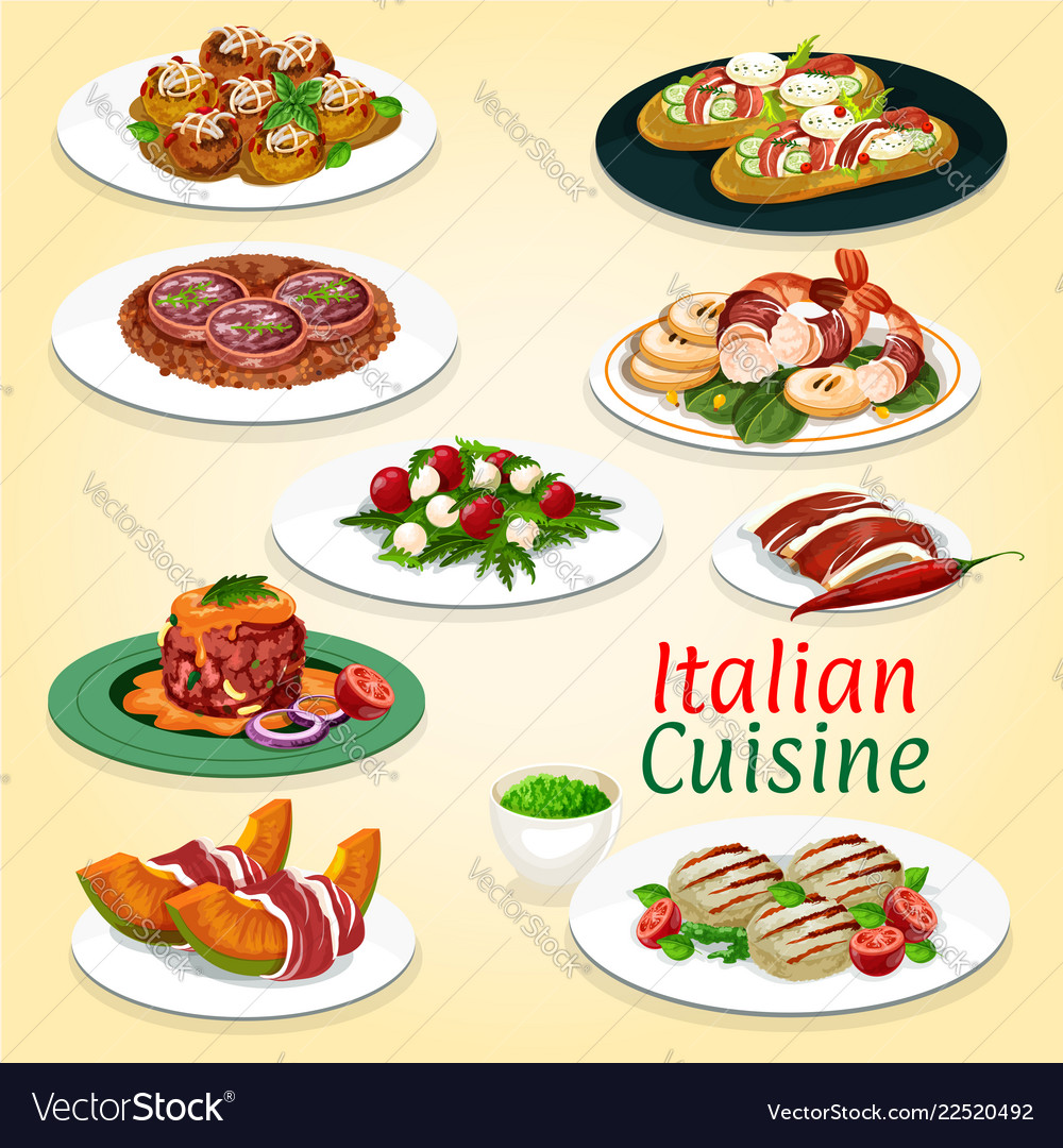 Italian cuisine meat and seafood dishes
