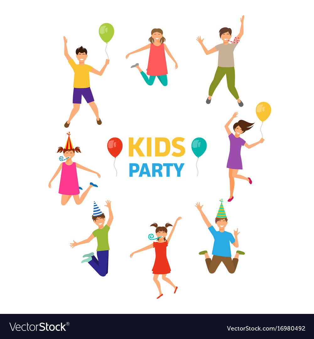 Kids party funny girls and boys jumping