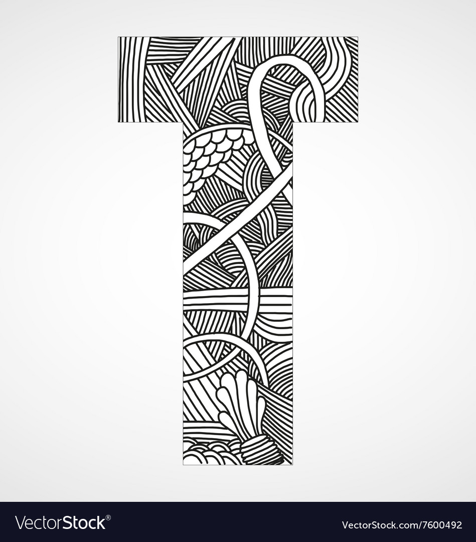 Letter T From Doodle Alphabet Vector Image