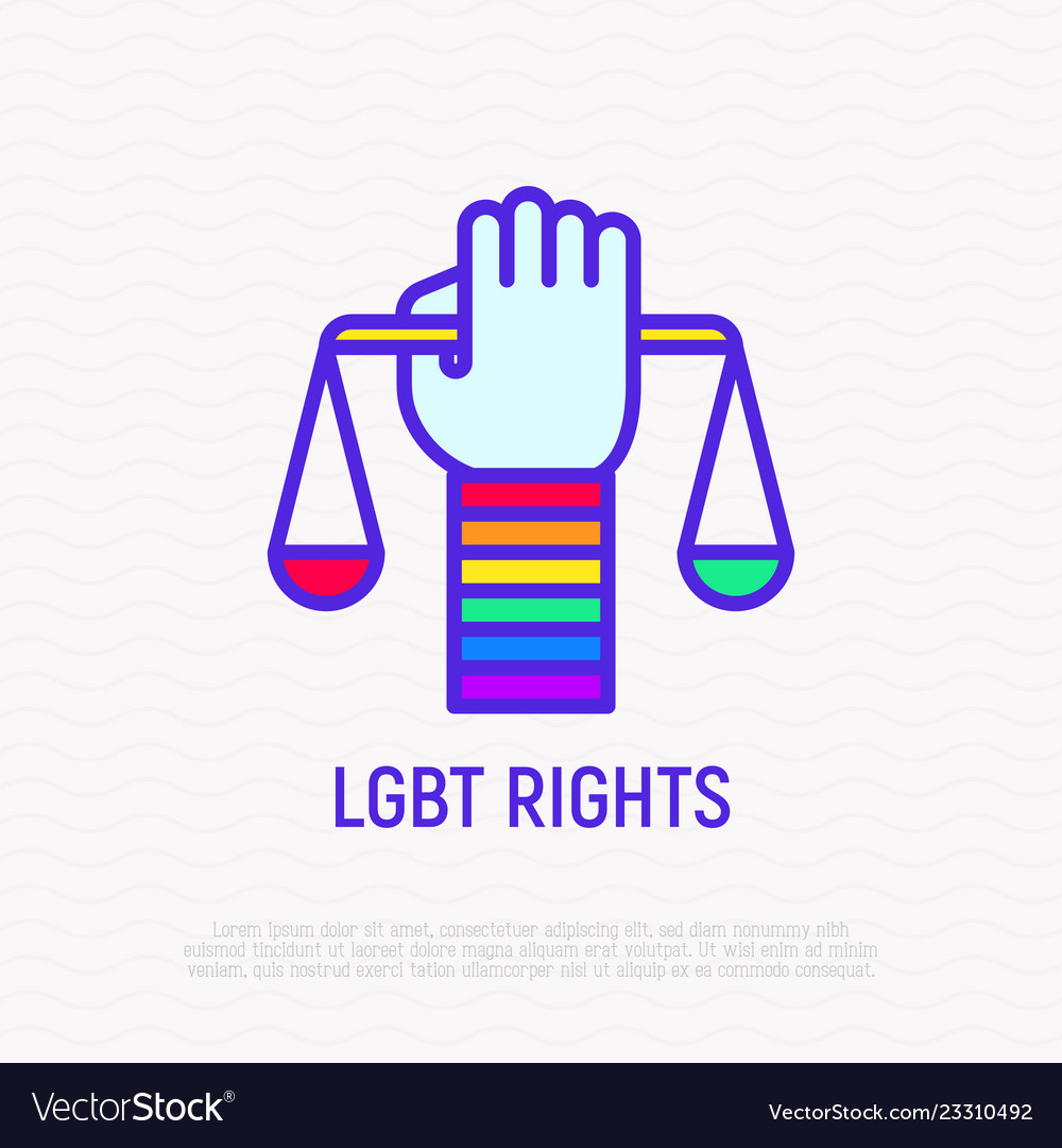 Lgbt rights hand with scales rainbow wristband