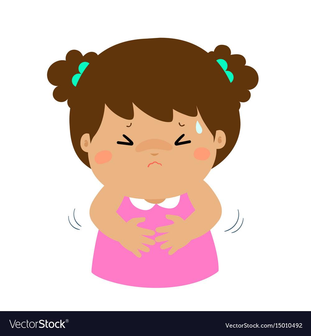 little girl having stomach ache cartoon royalty free vector vectorstock