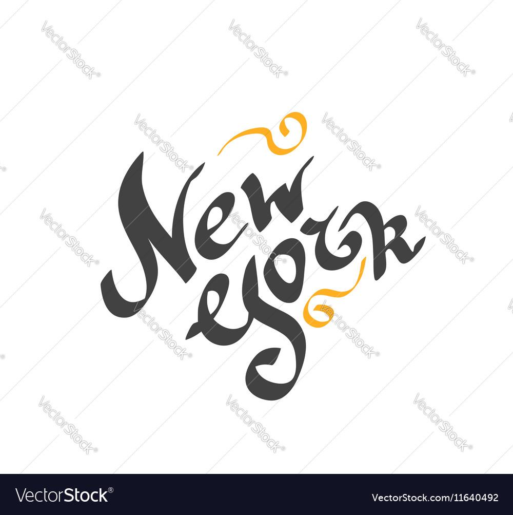 New York hand drawn bright text vector image