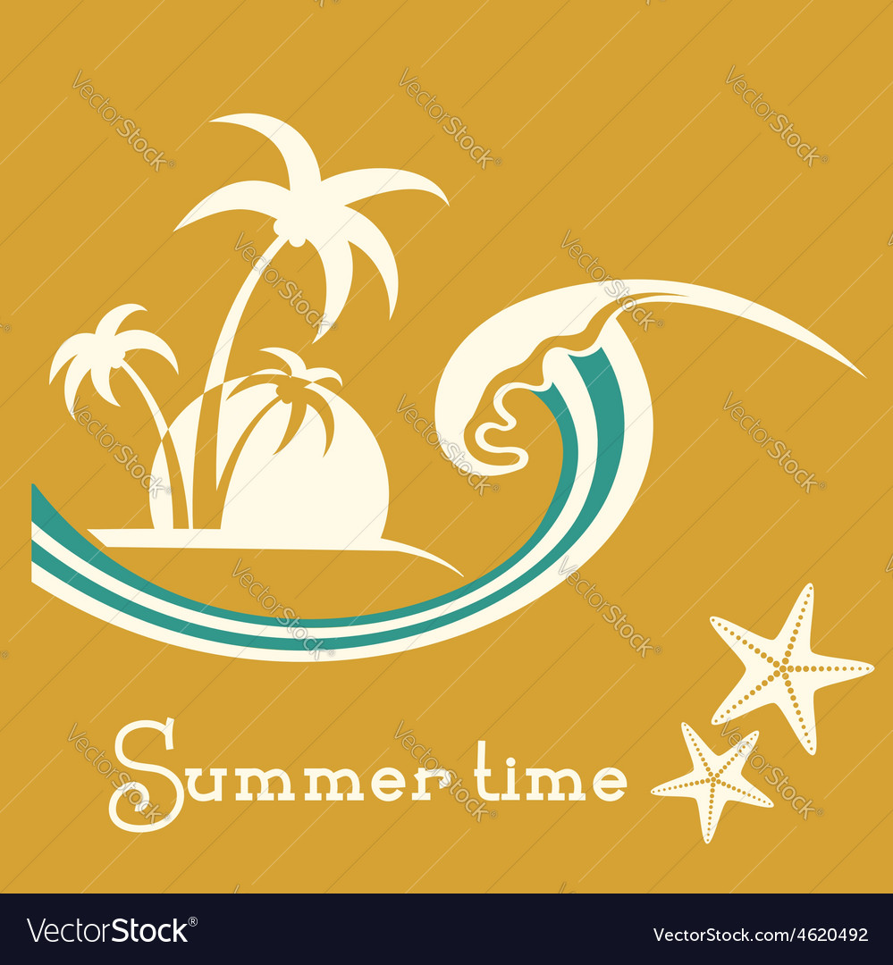 Summer time with sea wave and tropical palm trees