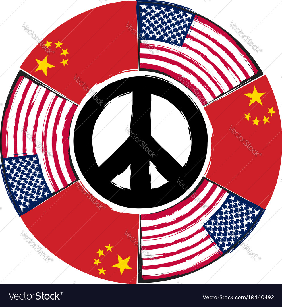 Usa and china flags or banner