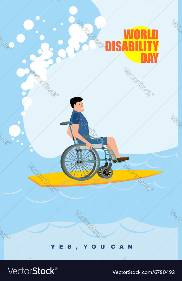 World Disabilities day Man in wheelchair floats on