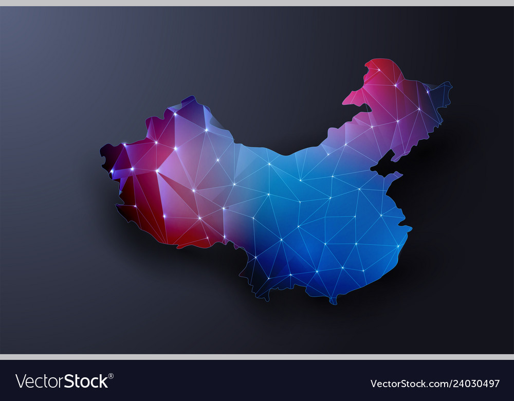 Abstract map of china wire frame 3d