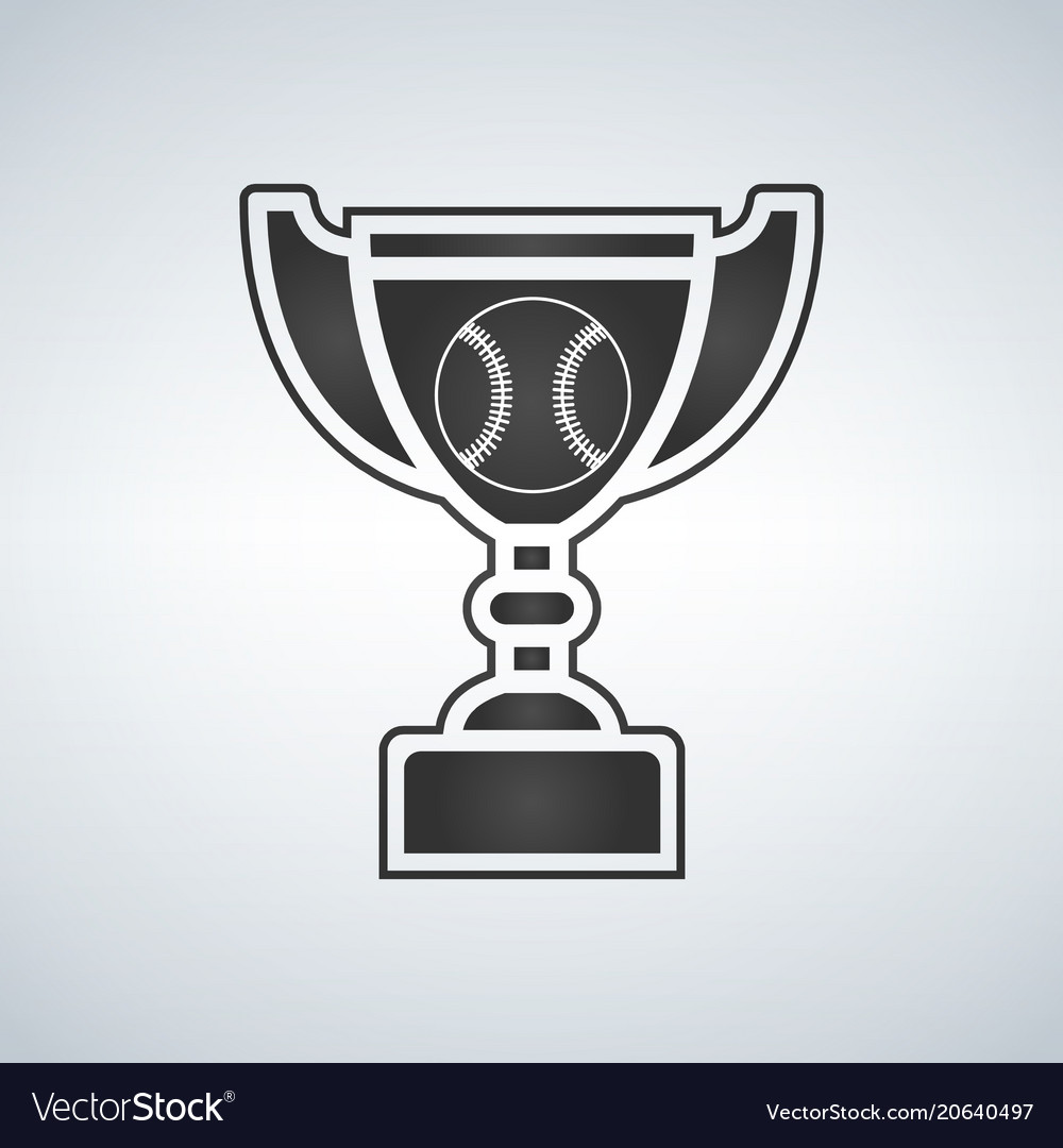 Baseball trophy cup award icon in flat style