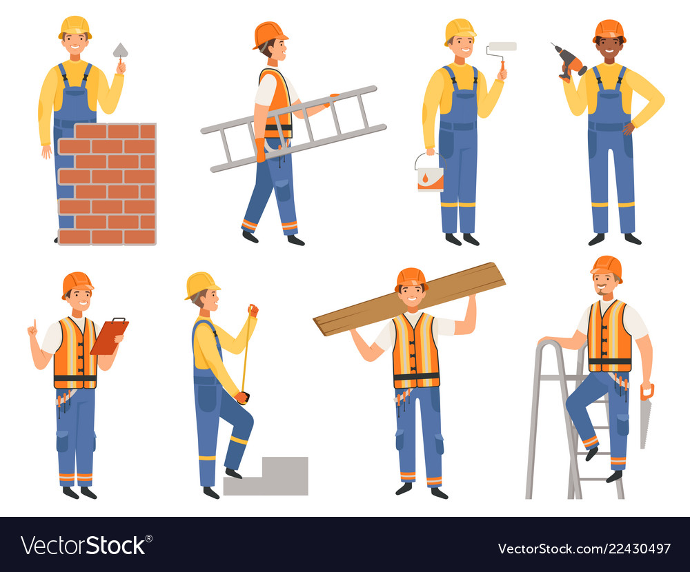 Builder cartoon character funny mascots of