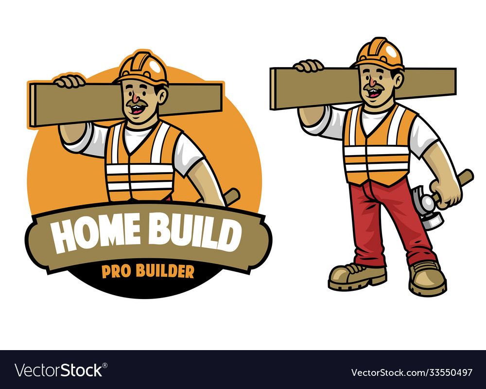 Cartoon construction worker mascot