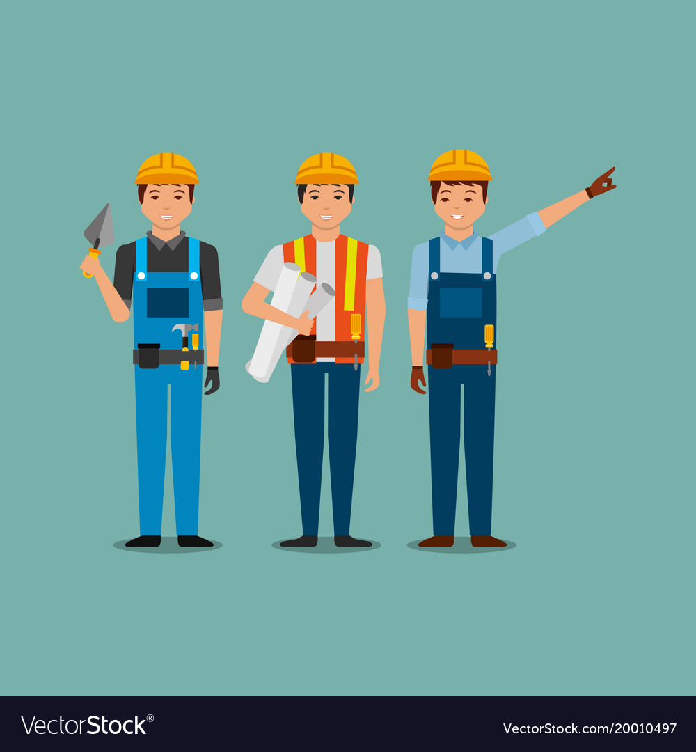Construction workers holding blueprint spatula vector image malvernweather Image collections