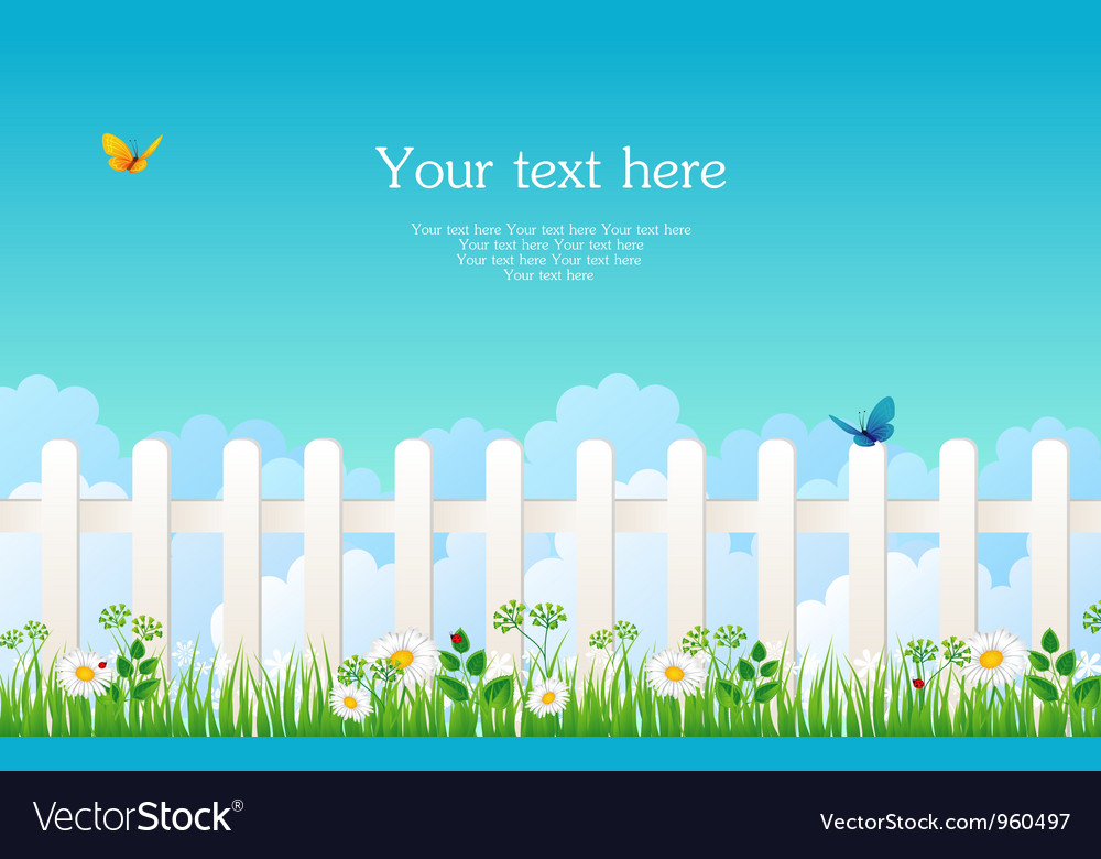 Fence with grass vector image
