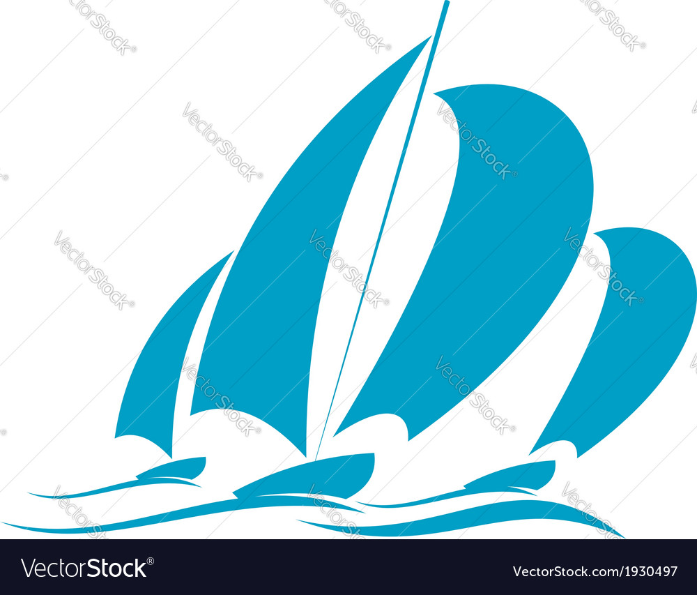 Racing in a yacht vector image