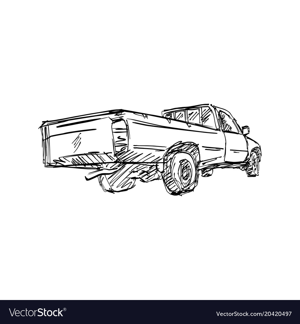 Rear view of pick-up truck sketch