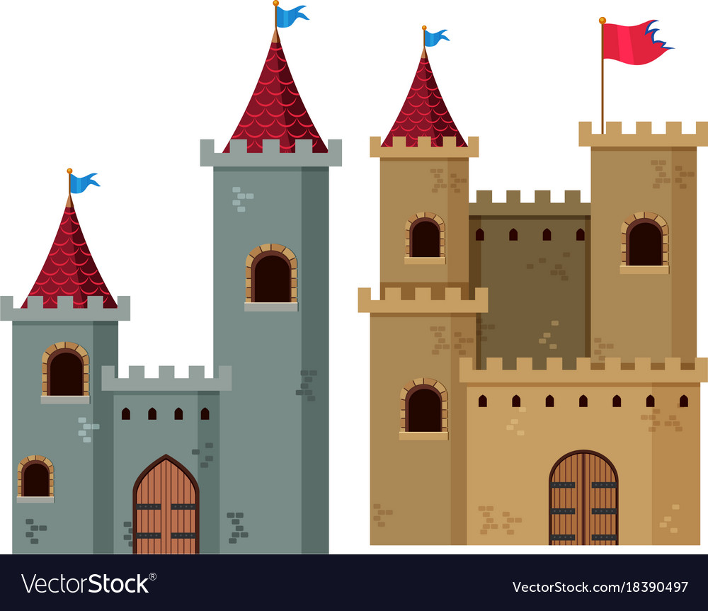 Two Castle Towers With Flags Royalty Free Vector Image