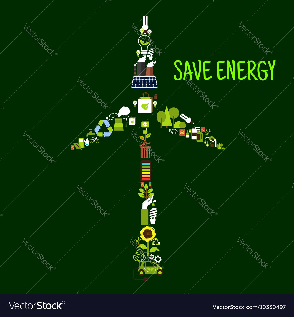 Wind turbine symbol with saving energy flat icons